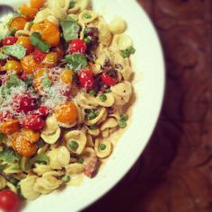 Orecchiette with baked tomatoes, green peas and cream sauce - from What Katie ate