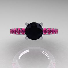 Classic 14K White Gold 1.0 Ct Black Diamond Pink by DesignMasters