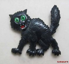 Carved From Vintage Bakelite. Scared Black Kitty Cat Pin, Halloween Brooch by Elfrink