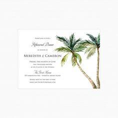 Palm Tree Rehearsal Dinner Invitations, Beach Rehearsal Dinner Invitations, Destination Beach Key West Rehearsal Invitations