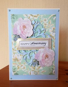 Anniversary card made using a selection of products by Anna Griffin.