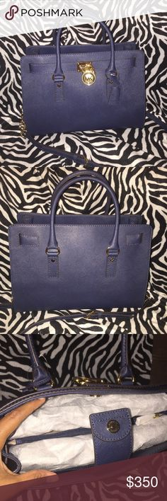 Authentic Michael Kors Hamilton large Navy A tech-friendly handbag especially designed with a padded interior to fit most laptops and tablets. Michael Kors Bags Satchels