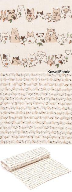 beige double gauze fabric cute panda rabbit bear animal from Japan - Kawaii Fabric Shop Michael Miller, Kawaii, Cosmo, Modes4u, Cute Panda, Beige, Fabric Shop, Double Gauze Fabric, Cotton Lights