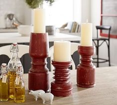 Weathered Wood Candlestick - Red #potterybarn