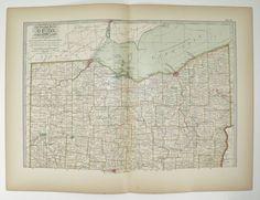 Vintage Map Southern Ohio Map Century Map Of Ohio Cincinnati - Map of northern ohio