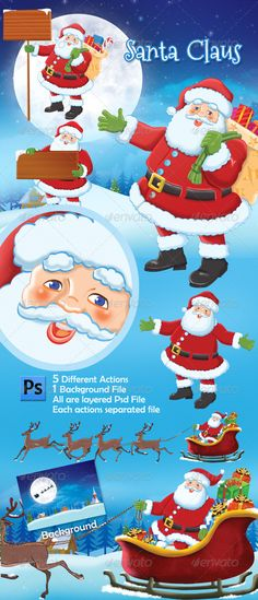 Santa Claus actions Photoshop Template The PSD file is setup at 24803508CMYK 300DPI The PSD file is very well organized, with col