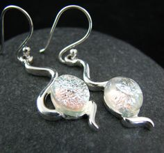 A brand new earring style from Glass Elements - a gorgeous silver frost cascade paring silver and a small touch of glass.  $42  #gift #seattle #style