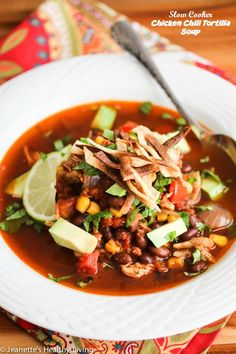 Slow Cooker Chicken Chili Tortilla Soup Recipe ~ an easy family dinner idea. Serve with a simple salad and quinoa for a healthy meal. http://jeanetteshealthyliving.com