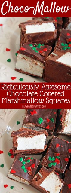 Homemade #Marshmallows get a makeover even adults will love with choco-mallow candy. Just a touch of coffee, dark chocolate, and toasted nuts turn this chocolate and marshmallow #candy #recipe into a sophisticated treat for everyone in the family. https://playdatesparties.com/choco-mallow/