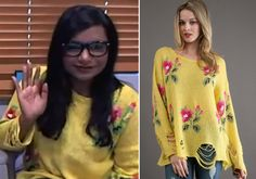 Mindy Kaling wore this yellow floral distressed sweater by Wildfox for her recent Google Plus hangout. Wildfox Couture Little Edie Lennon Sw...