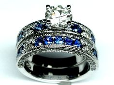 Vintage Engagement Ring Blue-Sapphire Accents & Matching Wedding Band - ES739BRBS