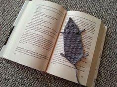 Hækling, Bogmærke, Flad mus, Bøger, Grå bomuldsgarn, Lang hale
