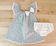 Baby ruffle sleeve dress with sweet cotton lace nappy cover - via DTLL.