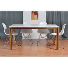 Eco-Natura Primo 5-Piece Dining Set with Molded Plastic Eiffel Side Chairs