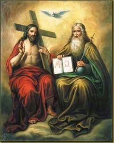 This image signify's the full awe of the holy trinity with the holy spirit represented by a dove, Jesus holding the cross in which he was killed on, and to the right of him is the almighty creator god. Religious Pictures, Jesus Pictures, Religious Art, Santicima Trinidad, Catholic Bible, Catholic Beliefs, Roman Catholic, Trinity Catholic, Christian Art