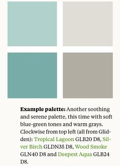 Paint colors - Loving this palette for my master bath. My tile is in the brown shades and the curtain fabric is in the blue-green shades. Think the walls will be tropical lagoon :)