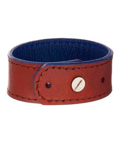 Navy & Tan Reversible Leather Bracelet. You will LOVE the navy color!! Amazing for #Fall. Wear with or without a medallion! #zulily #zulilyfinds