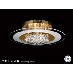 Diyas Delmar 6 Light Flush Ceiling fitting with Asfour Crystals in Gold Finish. #gold #crystal