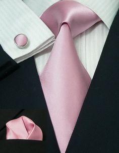 27H Bacrelli solid Pink 100% Silk Tie Set « Silk Ties   Wedding Ties   Wedding Sets   Bowties