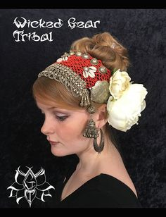 Belly dance headdress, headpiece, tribal fusion belly dance costume, ethnic head dress, bellydance by WickedGearTribal