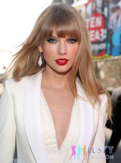 Long hair, cute bangs and your a star. Taylor, with her long hair and bangs, always has an innocent make up on her. So if you are a person that doesn't like so much make up on, this may be the hairstyle for you.