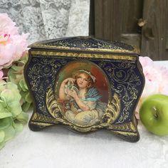 Beautiful Antique Rowntree Tin Litho Box Girl by WonderCabinetArts
