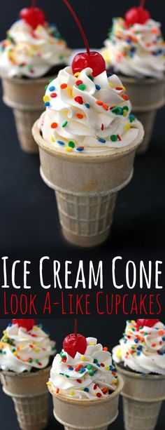 These Ice Cream Cone Look A-Like Cupcakes are a cute dessert kids and adults will both enjoy. Who wouldn't love an adorable cupcakes disguised as an ice cream cone?