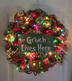 Christmas Wreath, Light Up Christmas Wreath, Grinch Wreath, The Grinch Lives Here, Holiday Wreath, Grinch Decor, Christmas Decor, The Grinch by CharmingBarnBoutique on Etsy