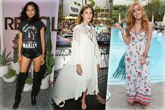 When it comes to festival looks, some hippie-inspired outfits are always necessary, whether it's just one hip piece as demonstrated by Shanina Shaik in a retro Bob Marley tee, or a total hip look such as Alexandra Chung's and her perfect breezy dress and floral necklace combo. Bella Thorne styled her floral maxi dress with some hand-crafted jewellery, a floral headband and a fringed suede bag – the best choices to spread the atmospheric energy of a music fest.