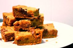 chewy salted brown butter milky way chocolate chip cookie bars; brown butter with the melty chocolate chips and chewy caramel milky way pieces made for a great cookie bar with no threat of being dry