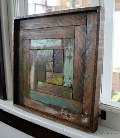 Reclaimed Wood Log Cabin Square, http://bec4-beyondthepicketfence.blogspot.com/2016/05/reclaimed-wood-log-cabin-square.html