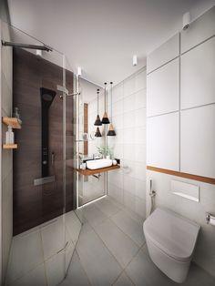 Warm Scandinavia bathroom vibes love the nib wall and lamp ...