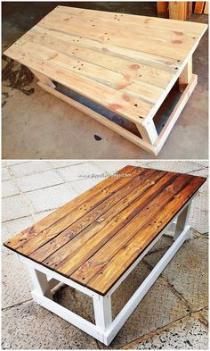 This is a beautiful piece of the pallet table design! Being shaped into rectangular long trail designing, the whole design of the table has been stylishly arranged with the wood form of working that is much simple and easy put together in the crafting. Diy Wood Pallet, Wood Pallet Recycling, Recycled Pallets, Diy Pallet Furniture, Wooden Pallets, Wooden Diy, Diy Pallet Table, Table From Pallets, Furniture From Pallets