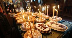Traditional Eastern Orthodox Kolyva, part of the funeral ritual, decorated with sweets and chocolate. Photo by Nicubunu via Wikimedia Commons. Funeral Cake, Funeral Food, Funeral Etiquette, The Departed, Home Altar, Orthodox Christianity, Caramel Apples, How To Fall Asleep, Birthday Candles