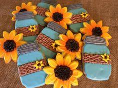 Rustic Burlap Mason Jars and Sunflower Sugar Cookies Large Party Favors