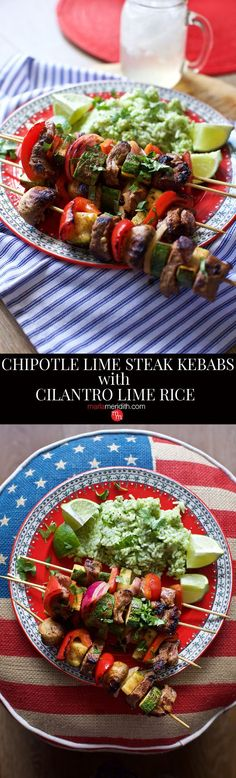 Chipotle Lime Steak Kebabs with Cilantro Lime Rice recipes. Great for weeknights and summer parties! MarlaMeridith.com ( @marlameridith )