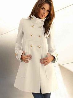 Elegant Turn-Down Collar Long Sleeve White Coat For Women | Sleeve ...