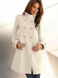Elegant Turn-Down Collar Long Sleeve White Coat For Women | Sleeve ...