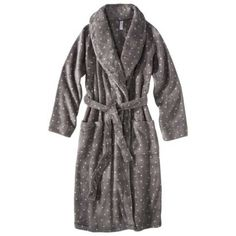 Long, warm robe. Neutral color like black or gray. Example from Target... Gilligan & O'Malley® Women's Cozy Robe - Assorted Colors