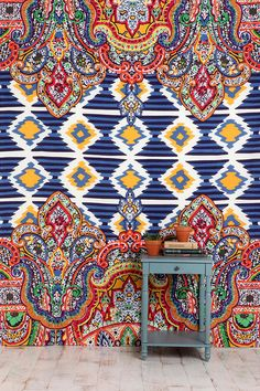 Geo Paisley Tapestry  #UrbanOutfitters.i will be getting this to hang on the wall. as a renter this is the best option since i cant wallpaper or paint. over the bed or in the living rm though im not sure..