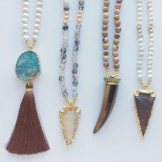 Fall Boho Tassel, Arrowhead, and Horn Necklaces