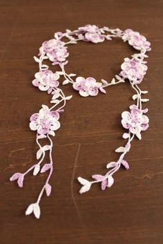 crochet flower necklace lariat