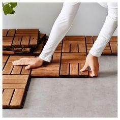 RUNNEN Decking, outdoor - brown stained 9 sq feet