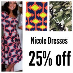 Item 1230142 NICOLE DRESSES sale these prints (limited offer) STYLE left pink/navy/gray  XS S M |  STYLE middle yellow/coral/blue L |  STYLE: CAMOFLAUGE  XS M L |