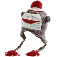 7ff12456325 The Original Kids Knit Sock Monkey Hat (Red Brown
