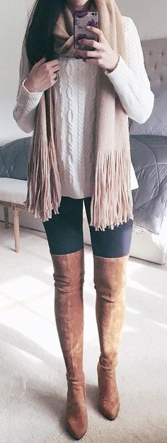 White Knit / Beige Fringe Scarf / Black Skinny Leggings / Brown OTK Boots