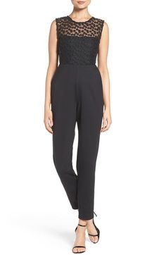 3ad0b5bd01da French Connection  Chelsea Beau  Embroidered Bodice Jumpsuit available at   Nordstrom Slim Fit Trousers