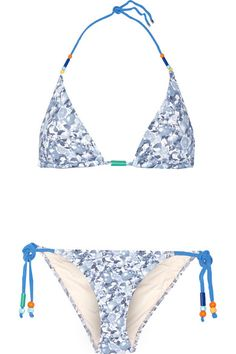 f62055ed6af STELLA MCCARTNEY Beaded Printed Triangle Bikini.  stellamccartney  cloth   beachwear Blue And White
