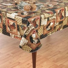 "Amazon.com: Vintage Rooster Flannel Back Vinyl Tablecloth, 60"" x 84"" Oblong (Rectangle): Home & Kitchen"