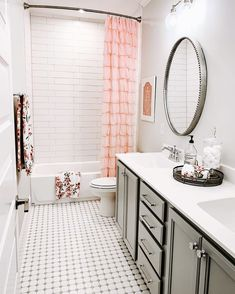 Pretty in pink 💕 We are loving this enchanting guest bathroom featuring our Ascendra pulls and Brixton knobs. Pink Bathrooms Designs, Brixton, Pretty In Pink, Furniture, Home Decor, Decoration Home, Room Decor, Home Furnishings, Home Interior Design